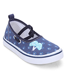 Cute Walk by Babyhug Floral Printed Shoes - White & Blue