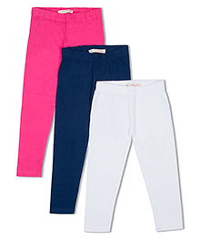 Raine And Jaine Girls 3 Piece Leggings - Pink Blue & White