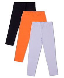 Raine And Jaine Girls 3 Piece Leggings - Black Orange & Grey