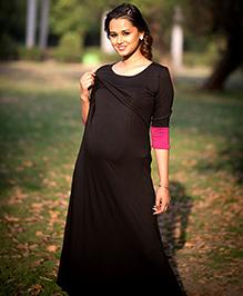Momzjoy Three Fourth Sleeves Lift Up Nursing Dress - Black And Pink