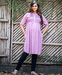 Momzjoy Three Fourth Sleeves Maternity & Nursing Kurta - Lavender Pink