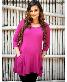 Momzjoy Three Fourth Sleeves Pocket Maternity Top - Deep Pink