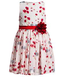 Toy Balloon Sleeveless Party Dress Flower Applique - Cream