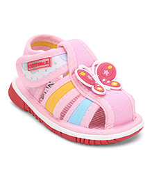 Cute Walk by Babyhug Squeaky Sandals butterfly Design - Pink