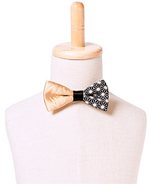Brown Bows Printed Cotton Butterfly Bow Tie - Golden and Black