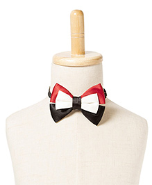 Brown Bows Printed Satin Batwing Bow Tie - Red Black White
