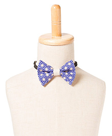 Brown Bows Printed Cotton Butterfly Bow Tie - Blue and White