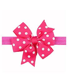 Bellazaara Baby Girl Ribbon Flower Polka Dots Bow Headband - Pink & White