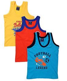 Taeko Sleeveless Vests Multi Print Set Of 3 Vests - Blue Coral Yellow