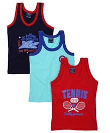 Taeko Sleeveless Vests Multi Print Set Of 3 Vests - Aqua Red Navy