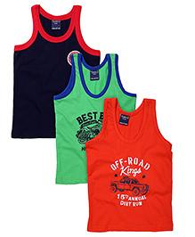 Taeko Sleeveless Vests Multi Print Set Of 3 Vests - Navy Coral Green
