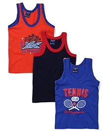 Taeko Sleeveless Vests Multi Print Set Of 3 Vests - Royal Coral Navy