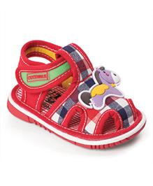 Cute Walk by Babyhug With Horse Design & Checks Print - Red