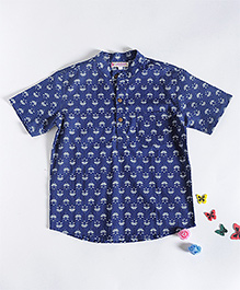 Amber Jaipur Lotus Print Boys Shirt - Indigo