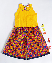 Amber Jaipur Girls Multicolor Culottes With Top - Yellow & Multicolor