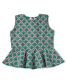 Amber Jaipur Peplum Top With Sunhat - Green