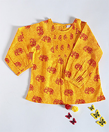 Amber Jaipur Elephant Print Pintuck Top - Yellow