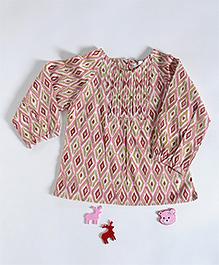 Amber Jaipur Ikat Pintuck Top - Pink