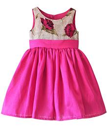Frills N Frocks Flower Print Party Dress - Pink