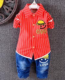 Pre Order : Lil Mantra Shirt & Denim Set - Red & Blue