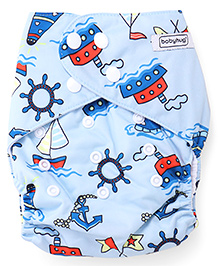 Babyhug Free Size Reusable Cloth Diaper With Insert Sea Transport Print - Blue