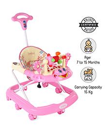 Babyhug First Walk Musical Baby Walker - Pink