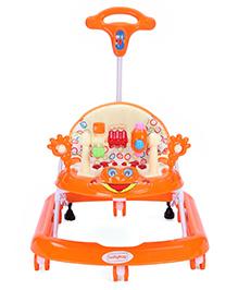 Babyhug First Walk Musical Baby Walker - Orange