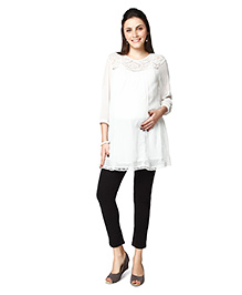 Nine Maternity Tunic With Lace - White