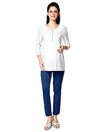 Nine Three Fourth Sleeves Maternity Blouse - White