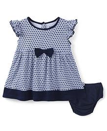 Wonderchild Short Sleeves Baby Dress With Bow - Navy Blue