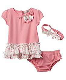 Harry & Violet Dress With Matching Head Band - Pink & White