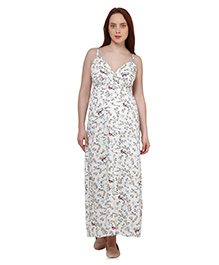 Oxolloxo Singlet Designer Maternity Tropical Print Maxi Dress - Off White