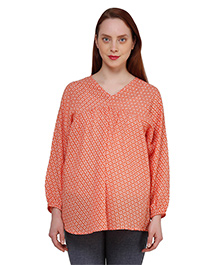 Oxolloxo Full Sleeves Geometric Print Maternity Top - Orange
