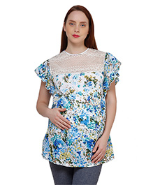 Oxolloxo Butterfly Sleeves Floral Print Maternity Top - White & Blue