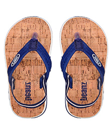 Beanz Flip Flops With Back Strap - Navy Light Brown