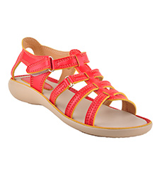 Beanz Sandals With Velcro Closure - Red Beige