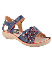 Beanz Party Sandals Floral Motifs - Navy Beige