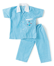 BownBee Half Sleeves Embroidered Collared Night Suit - Blue