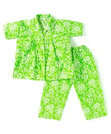 BownBee Half Sleeves Floral Print Night Suit - Green