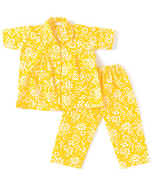 BownBee Half Sleeves Floral Print Night Suit - Yellow
