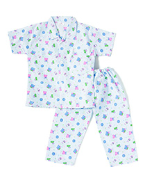 BownBee Short Sleeves Night Suit Teddy Print - White And Blue
