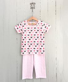 Frangipani Kids I Love My Crown Print Pajama & T-Shirt - Multicolour