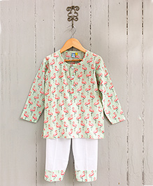 Frangipani Kids Flamingo Flamenco Print Pajama & T-Shirt - Multicolour