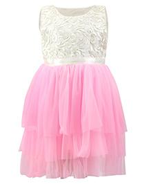 K&U Sleeveless Frock With Thread & Zari Work Bodice - Off White Pink