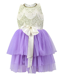 K&U Sleeveless Frock With Sequin Bodice And Bow - Lavender