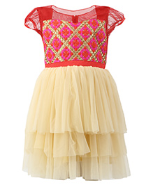 K&U Short Sleeves Frock Thread And Zari Detail Bodice - Red & Gold