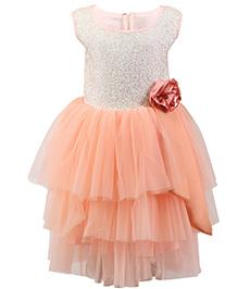 K&U Sleeveless Frock Rainbow Sequins Detail Yoke - Peach