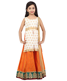 K&U Sleeveless Choli And Lehenga With Dupatta - Off White & Orange