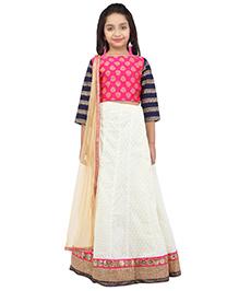 K&U Three Fourth Sleeves Choli And Lehenga - Pink & Off White