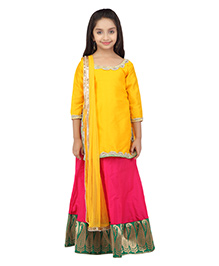 K&U Three Fourth Sleeves Contrasting Yellow and Pink Lehenga Choli With Dupatta